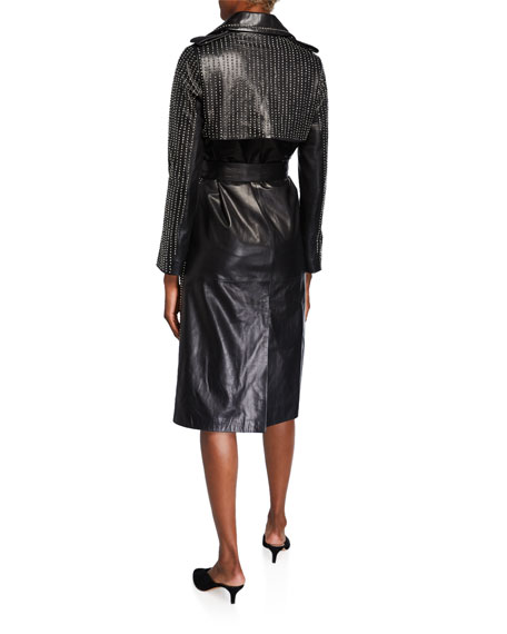 Nour Hammour Gia Embellished Leather Trench Coat