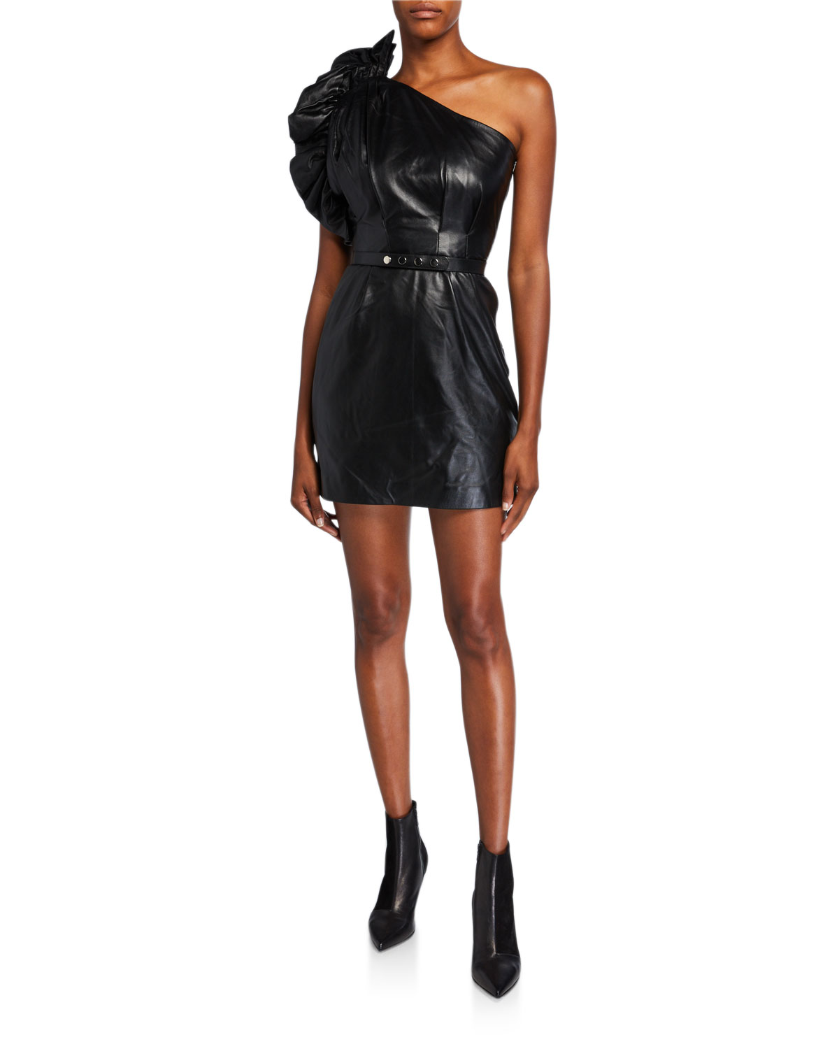 Nour Hammour Talia Leather One-Shoulder Mini Dress