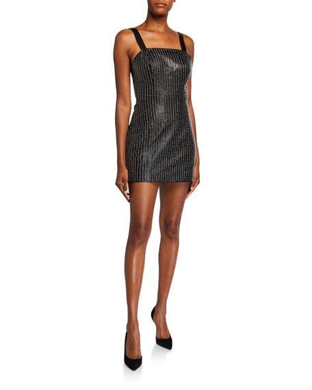Nour Hammour Palladium Studded Leather Mini Dress