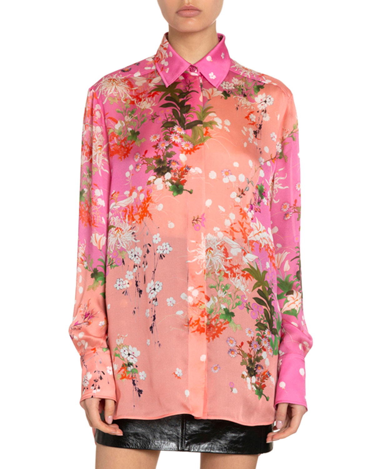 Givenchy Tops FLORAL PRINT TWO-TONE SILK BLOUSE