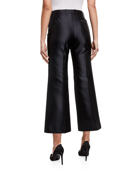 Givenchy Wool-Silk Pleated Crop Trousers