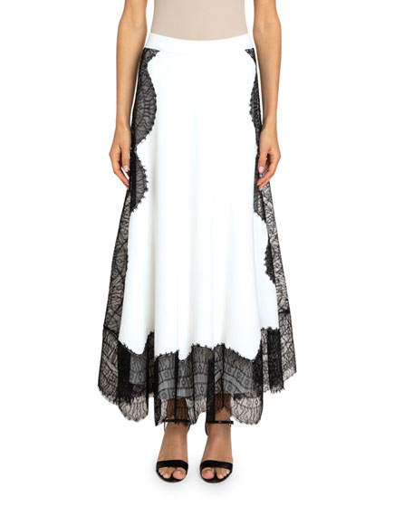 Givenchy Wavy Lace-Trim Crepe Skirt