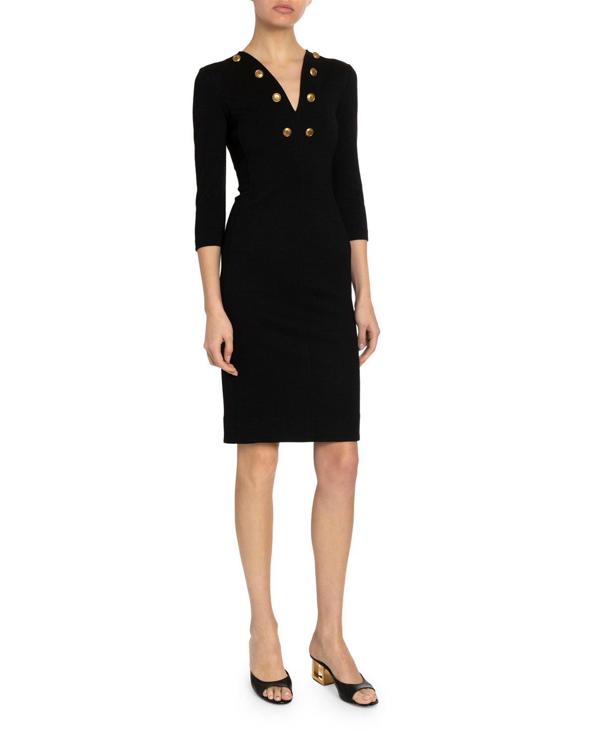 GIVENCHY GOLDEN-BUTTON JERSEY FITTED MIDI DRESS