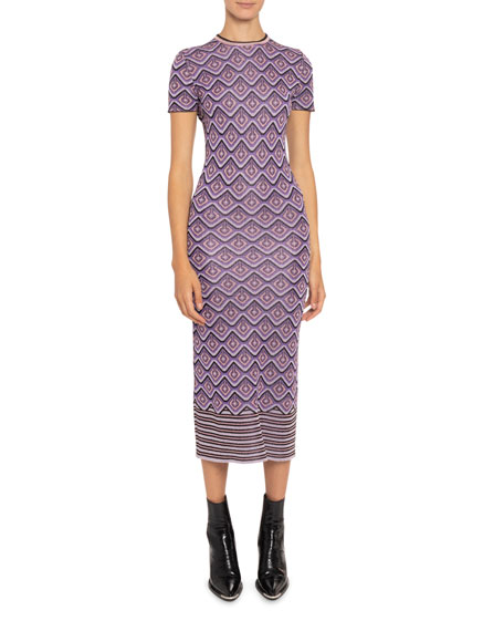 Paco Rabanne Printed Short-Sleeve Bodycon Dress