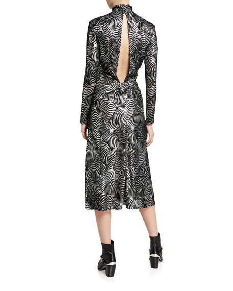 Paco Rabanne Metallic Leaf-Print Mock-Neck Dress