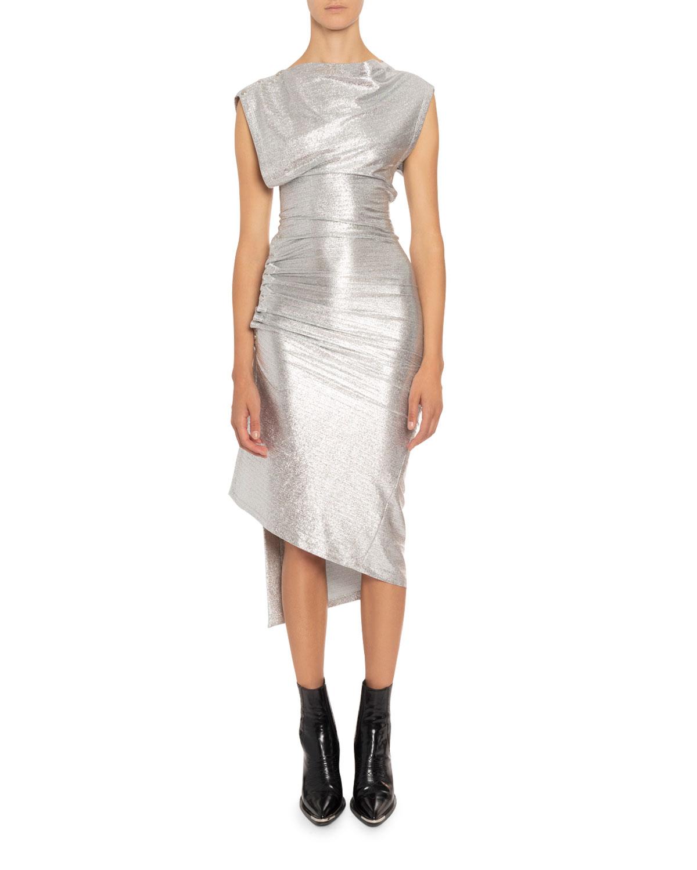 Paco Rabanne High-Neck Midi Dress