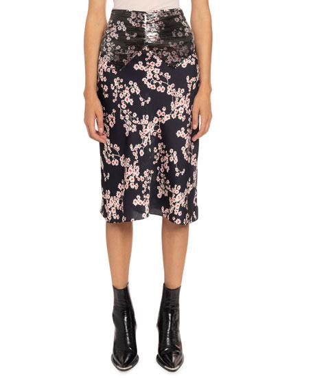 Paco Rabanne Floral-Print Chain Mesh Midi Skirt