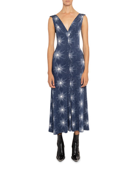Paco Rabanne STAR-PRINT JERSEY GOWN