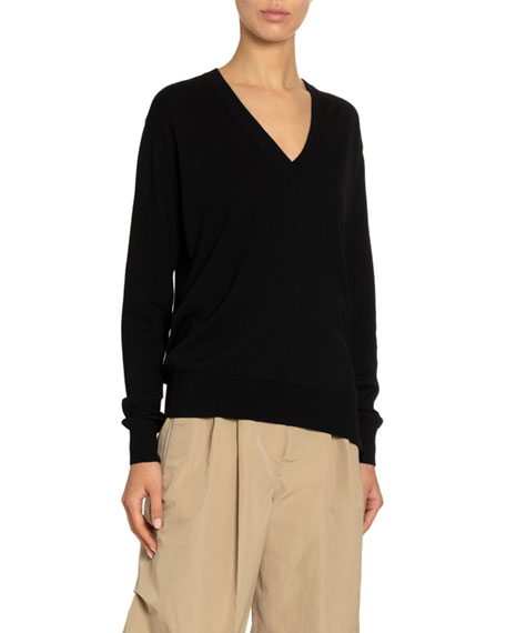 Givenchy Wool-Silk Golden-Button Seamed Sweater