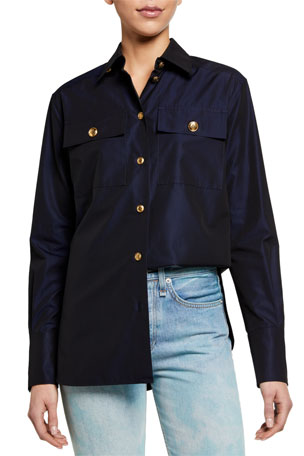 Givenchy Sateen Button-Front Shirt with 4G Buttons