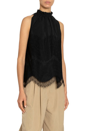 Givenchy Tech Taffeta Lace-Trim Halter Top