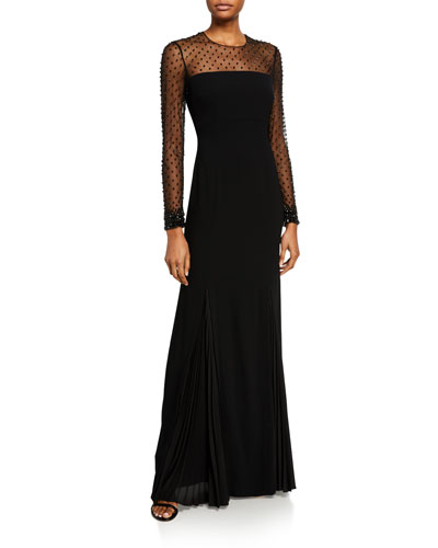 Greha Long-Sleeve Jeweled-Tulle Illusion Column Gown