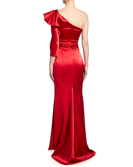 Image 2 of 2: Talbot Runhof Crepe Satin One-Shoulder Gown