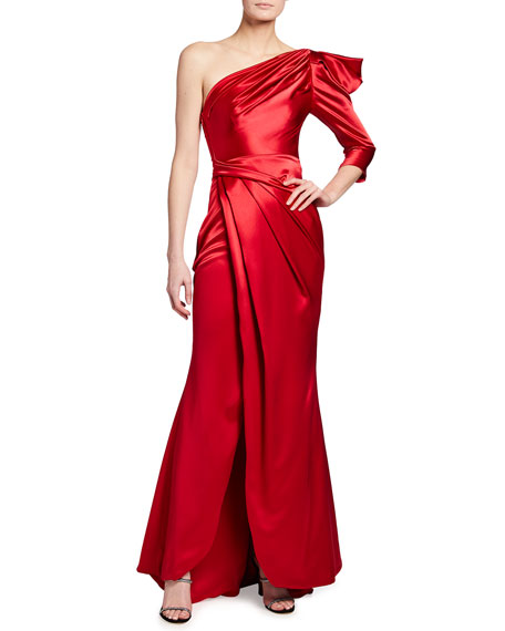 Image 1 of 2: Talbot Runhof Crepe Satin One-Shoulder Gown