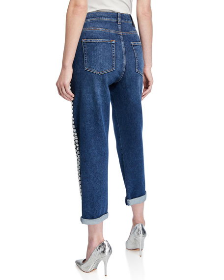 Image 2 of 3: Rhinestone-Seamed Cropped Jeans