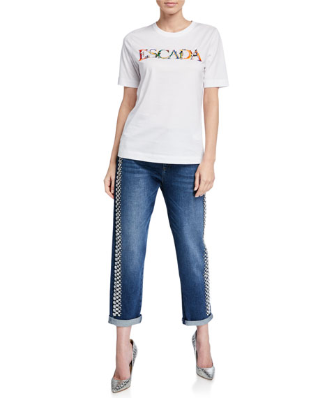 Image 3 of 3: Rhinestone-Seamed Cropped Jeans