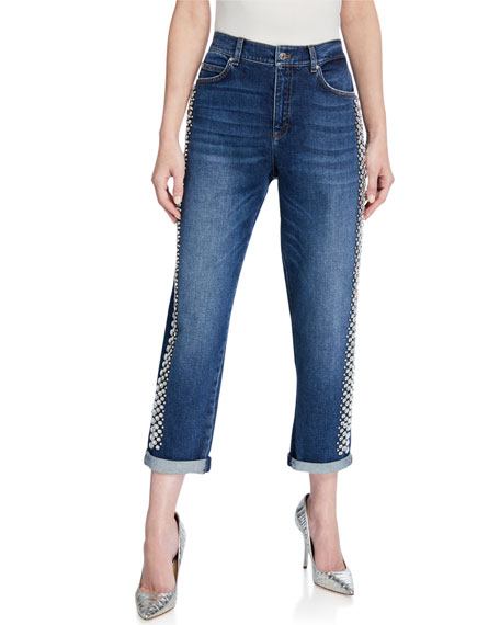 Image 1 of 3: Rhinestone-Seamed Cropped Jeans