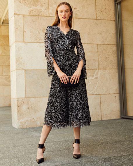 Escada Dheve Metallic Floral Lace Midi Dress
