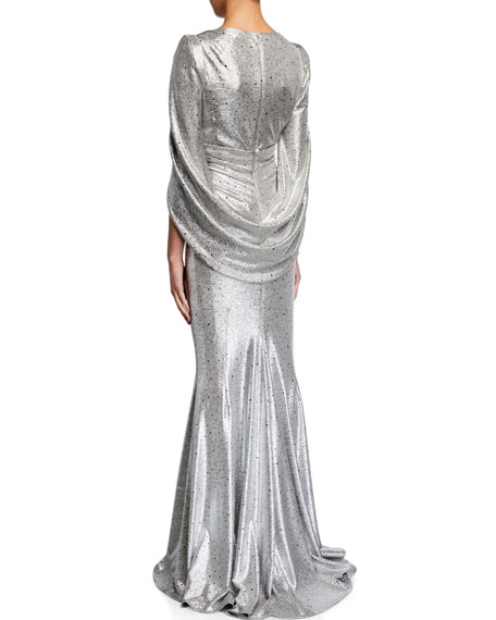 Image 2 of 2: Talbot Runhof Rosin Mirrorball Gathered Stretch Metallic Gown