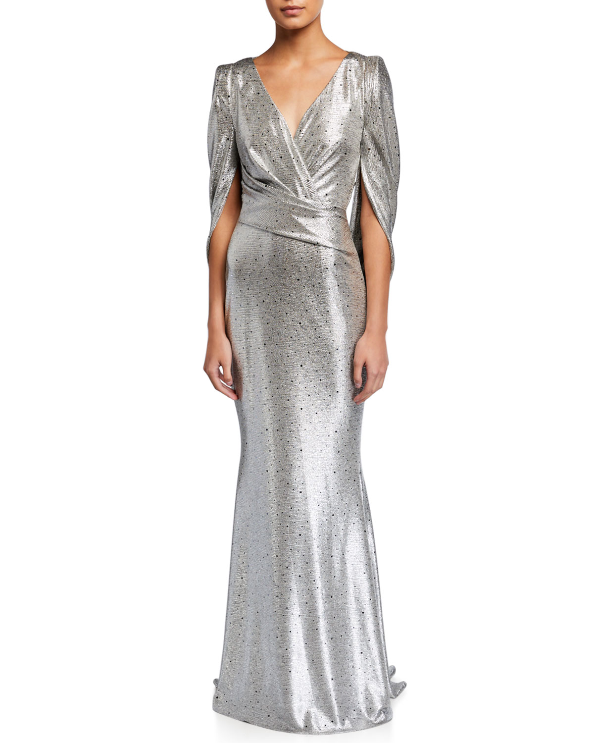 Talbot Runhof Rosin Mirrorball Gathered Stretch Metallic Gown