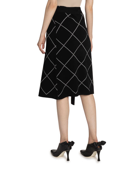 Proenza Schouler Windowpane-Print Wrapped Skirt