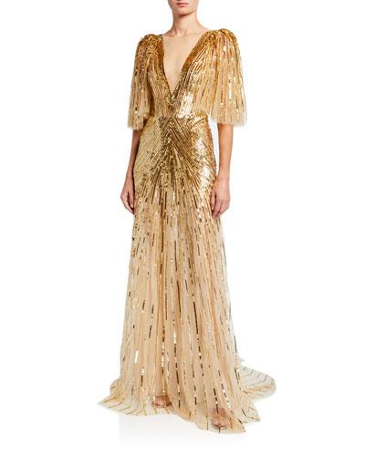 Tulle Ruffled-Sleeve V-Neck Gown