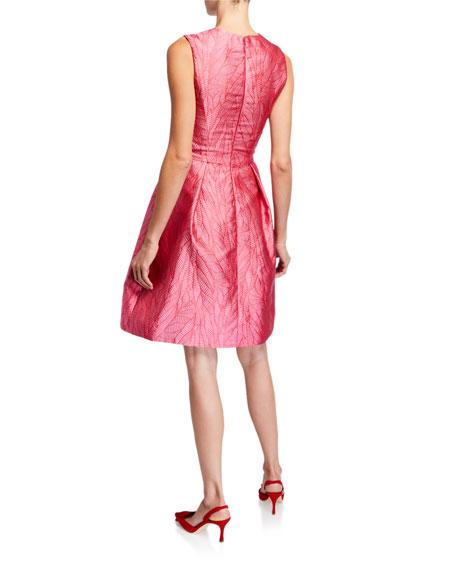 Monique Lhuillier Palm Jacquard Taffeta Dress