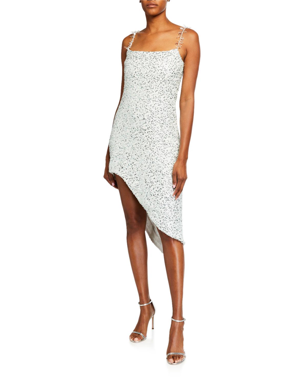 Halpern Sequin Asymmetric Sheath Dress