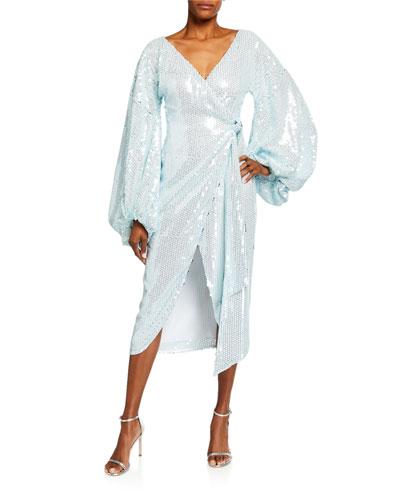 Sequined Balloon-Sleeve Wrap Dress
