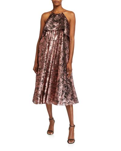 Metallic Halter-Neck Midi Dress
