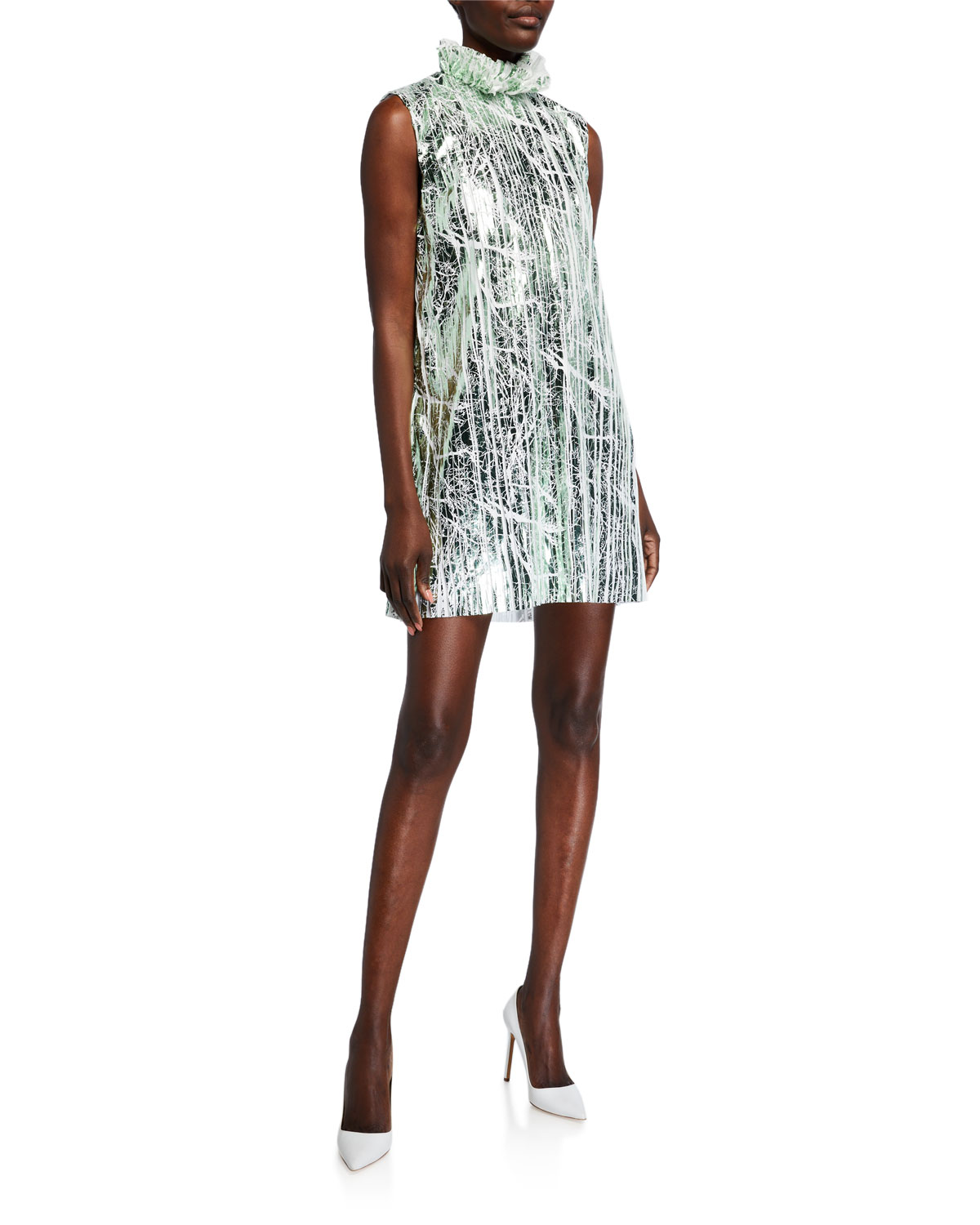 Halpern Foil Mini Dress