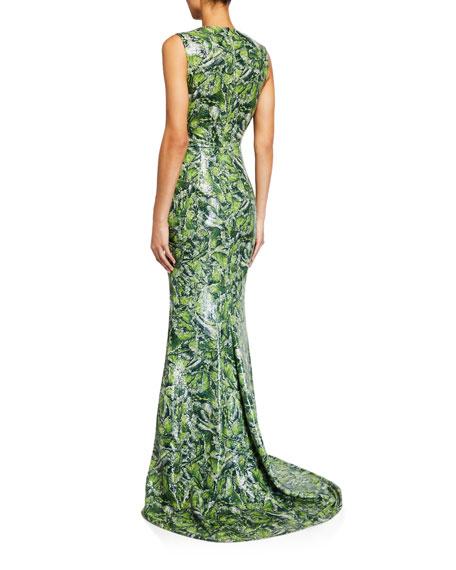 Halpern Jewel Neck Sleeveless Column Gown