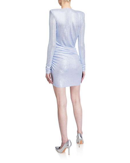 Image 2 of 2: Alexandre Vauthier Metallic Jersey Deep-V Bodycon Dress
