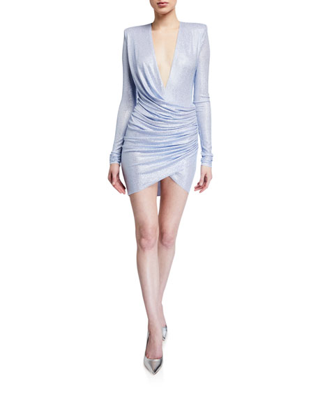 Image 1 of 2: Alexandre Vauthier Metallic Jersey Deep-V Bodycon Dress
