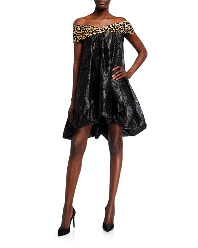 Bare-Shoulder Balloon Hem Dress