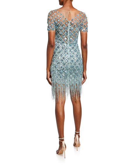Image 2 of 2: Pamella Roland Beaded Cocktail Dress