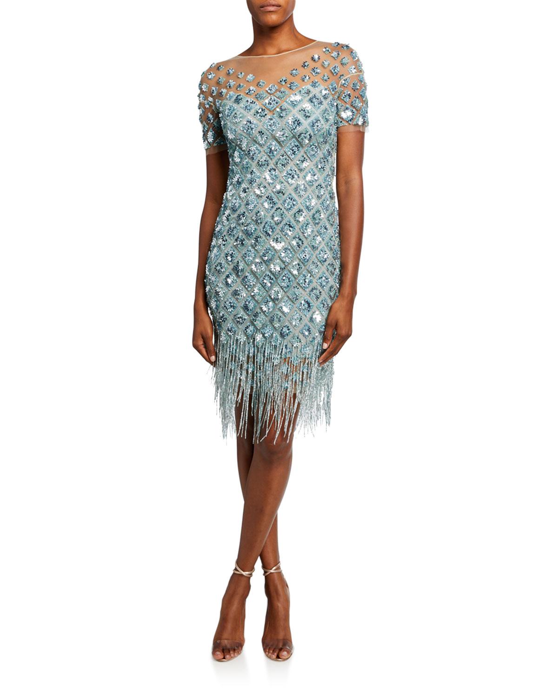 Pamella Roland Beaded Cocktail Dress