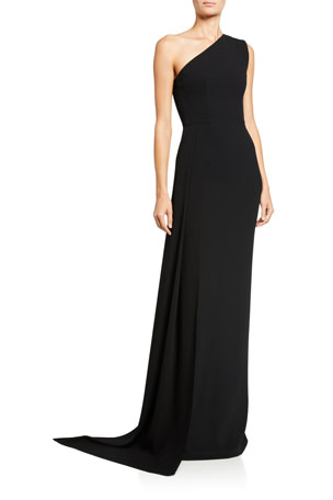 Alex Perry Gray One-Shoulder Draped Jersey Gown