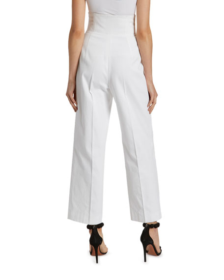 Image 2 of 2: ALAIA Cotton High-Rise Crop Trouser