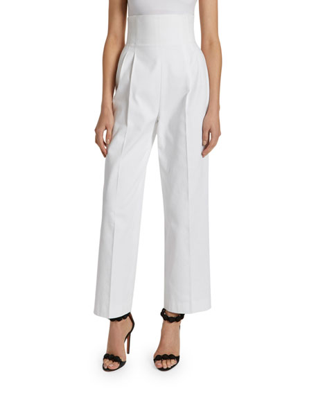 Image 1 of 2: ALAIA Cotton High-Rise Crop Trouser