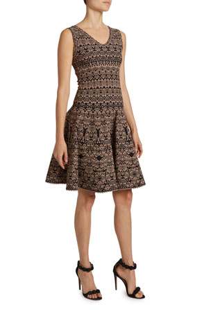 ALAIA Campanelle Print V-Neck Fit & Flare Dress