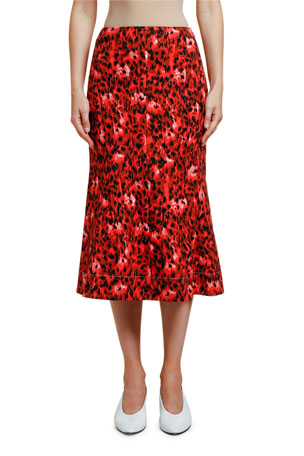 Marni Animal-Print Midi Skirt