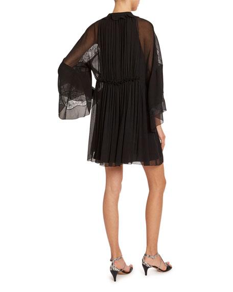 Chloe Bell-Sleeve Lightweight Chiffon Mini Dress