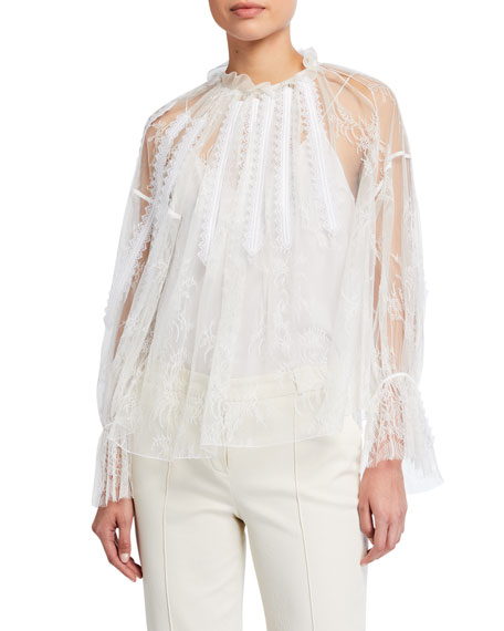Image 2 of 3: Chloe Chantilly Lace Frilled Blouse