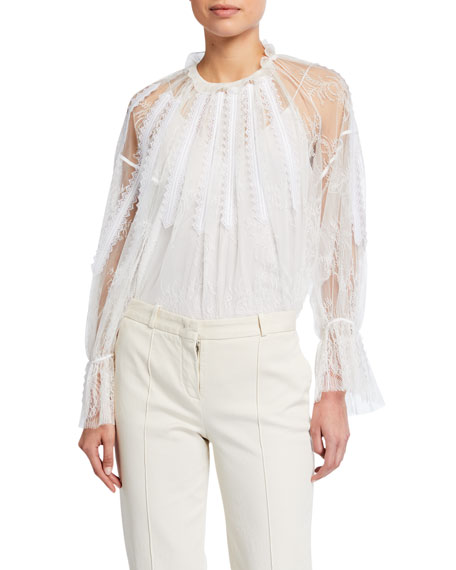 Image 1 of 3: Chloe Chantilly Lace Frilled Blouse