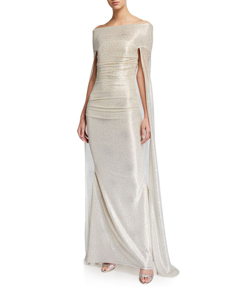 Talbot Runhof Starburst Metallic Voile Capelet Gown