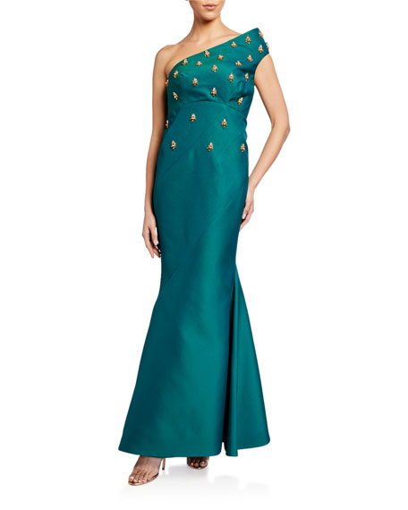 Image 1 of 2: Zac Posen One Shoulder Gown With Embroidery