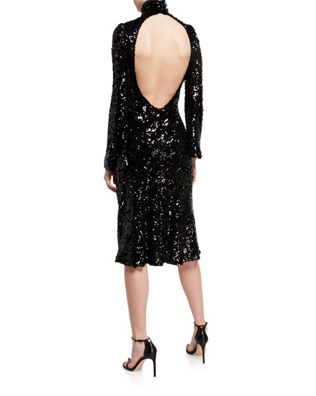 Galvan Legato Sequined Turtleneck Dress