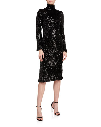 Legato Sequined Turtleneck Dress