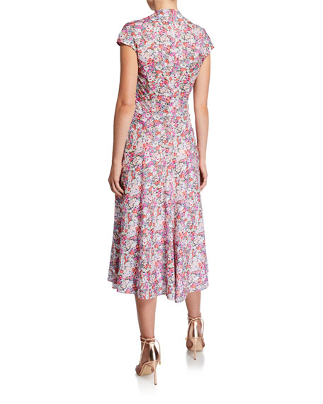 Zac Posen Printed Cotton V-Neck Dress